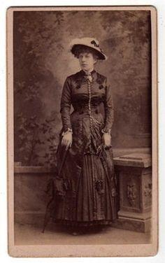 CDV Photo Woman Standing Hat Umbrella Stoughton Wi Fermann | eBay