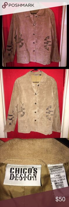 ‼️Today only‼️Chico's- Tan All Leather Blazer This is a beautiful Chico's Leather blazer in size 1 (Sz 10/12) nice tan with a beautiful appliqué on it. Pics show best look. Great for all types of events! Offers? Chicos Jackets & Coats Blazers