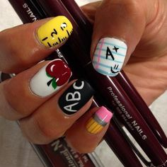 Instead of the same manicure and polish, try some clever back to school nail art designs that will give you an A+ in style! School Nail Art, Back To School Nails, Middle School, High School, Pedicure Designs, Nail Art Designs, Fingernail Designs, Teacher Nail Art, Cute Nails