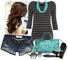"""Turquoise Bag"" by jill-hammel ❤ liked on Polyvore"