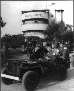 Allied occupation of Casablanca after Operation Torch, November 1942 with Roosevelt riding in a jeep during the 1943 conference. Operation Torch, Roosevelt, Casablanca, Conference, Dawn, Antique Cars, Jeep, Monster Trucks, November