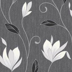 Vymura Synergy Glitter Floral Wallpaper Ebony Black / White / Silver - Vymura from I love wallpaper UK Luxury Wallpaper, Love Wallpaper, Textured Wallpaper, Pattern Wallpaper, Accent Wallpaper, Damask Wallpaper, Bathroom Wallpaper, Silver Grey Wallpaper, Glitter Wallpaper