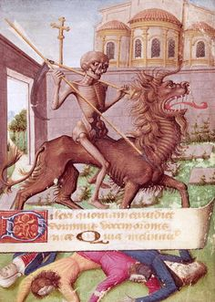"lunasabatica: ""The Triumph of Death From a Book of Hours manuscript, Ms 89 "" Rockwell Kent, Norman Rockwell, Medieval Manuscript, Medieval Art, Renaissance Art, Memento Mori, Fantasy Beasts, Fantasy Art, Dance Of Death"
