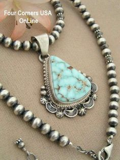 Four Corners USA Online - Dry Creek Turquoise Silver Bead Necklace by Native American Artisan E.M. Linkin NAN-1412, $395.00 (http://stores.fourcornersusaonline.com/dry-creek-turquoise-silver-bead-necklace-by-native-american-artisan-e-m-linkin-nan-1412/)