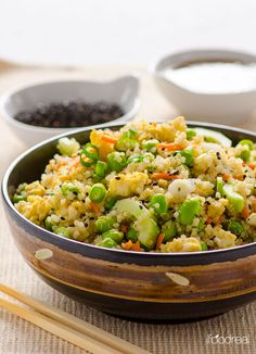 Japanese Quinoa Salad Recipe -- Quick gluten free salad with edamame, cucumbers, scallions and Ginger Soy and Sesame dressing.