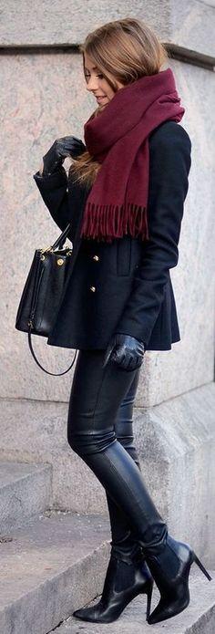 Calça de couro preta moda 2017