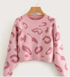 Leopard Graphic Crop PINK GIRLY Sweater .. Casual look :) every girl loves to feel comfort , be stylish and cozy in the same time