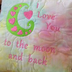 Quilted Batik I LOVE YOU TO THE MOON AND BACK Pillow