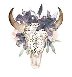 98ea485f0 Watercolor skull with antlers in flowers