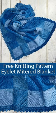 Free Knitting Pattern for Eyelet Mitered Blanket - Modular throw of mitered squares with an eyelet pattern that form dim Knitted Squares Pattern, Knitting Squares, Baby Knitting Patterns, Loom Knitting, Free Knitting, Knitting Stitches, Blanket Patterns, Knitted Afghans, Knitted Baby Blankets