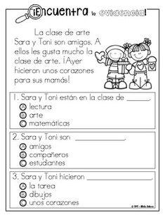 Encuentra la evidencia - Regreso a clases Spanish Language, Language Arts, Grade 1, Second Grade, Close Reading, Ale, Homeschool, Activities, Learning