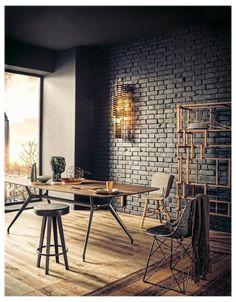 Black Brick Wall, Brick And Wood, Black Wood, Fake Brick, Grey Brick, Black Ceiling, Black Dark, Black Painted Walls, Black Walls