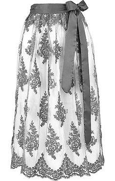 Dirndl-Schürze von Lodenfrey mit aufwendiger Spitze in Weiß-Grau. Mit floraler Stickerei, aus Polyester gefertigt.