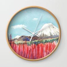 Ruapehu volcano , Tongariro National Park New Zealand Wall Clock