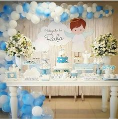 New baby shower varon ideas candy bars Ideas Boy Baptism Centerpieces, First Communion Decorations, Christening Decorations, Boy Baby Shower Themes, Baby Shower Parties, Baby Boy Shower, Baptism Themes, Baptism Party, Baby Boy Christening