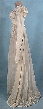 c. 1805-1810 Embroidered Empire Muslin Gown. Gorgeous.