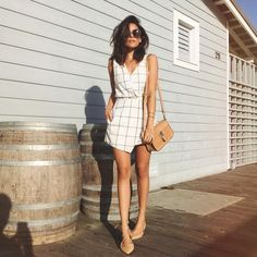 Sazan Hendrix в Instagram: «Grid lines. Tap for details #ootd #romper #summer #messyhair #lineanddotxo»