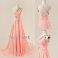 Prom Dress in Yourcloset · Charming light pink one-shoulder handmade sweep train prom dress, graduation dress, evening dress · Online Store Powered by Storenvy