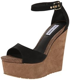 Steve Madden Womens Corsica Wedge Sandal Black 95 M US ** This is an Amazon