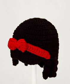 Snow White Hat / Wig, Black Hair Crochet Disney Beanie, any size baby - adult