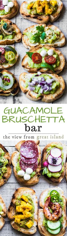 Guacamole Bruschetta Bar ~ admit it, you've always wanted to eat avocado toast for dinner, and this meal is healthy and lots of fun! | appetizer | main course | avocados | 30 minute meal | grilling | summer |