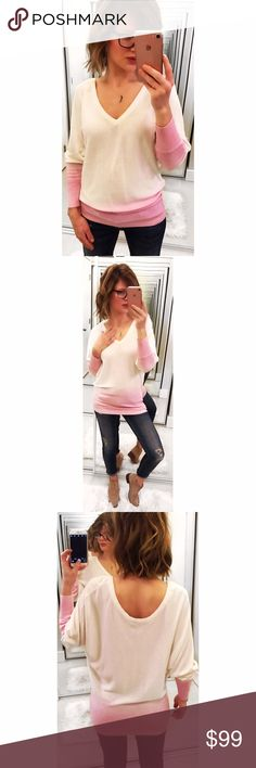 ➡Feel the Piece Dip Dye Boyfriend Sweater⬅ A gorgeous sweater with dolman sleeves and ribbed hem. Cream color dipped into pink. Deep v neck front and scoop neck. Wear it high or low. New without tags. Feel the Piece Sweaters V-Necks