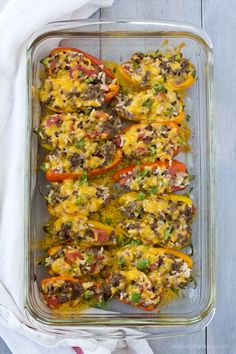 "Sweet mini peppers are stuffed with a ground beef, tomato and rice mixture for an adorable ""mini"" version of traditional stuffed peppers. Perfect for a unique appetizer or as a delicious meal. Turkey Recipes, Beef Recipes, Cooking Recipes, Healthy Recipes, Paleo Food, Mexican Recipes, Easy Recipes, Recipies, Stuffed Peppers Healthy"