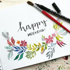 happy weekend! #watercolor #aquarellepainting #painting #wasserfarben #aquarellblumen #handlettering #lettering #schönschreiben inspired by @jayartpainting #meditation #übungmachtdenmeister #inderruheliegtdiekraft