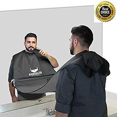 BEARDMAN - Hair Trimming Catcher Cape - The Improved Beard Apron with Strong Suction Cups for Mirror - Wooden Beard Comb Included - Best Gifts Idea for Him Men Boyfriend Husband - Black Beard Apron, Thing 1, Catcher, Super Easy, Adidas Jacket, Cape, Best Gifts, Windbreaker, Boyfriend