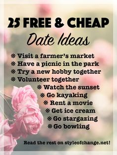 25 Free or Inexpensive Date Ideas