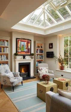 Lounge room within orangery featuring fireplace Aufenthaltsraum Class & Character Design Jobs, Home Design, Design Ideas, Small Home Interior Design, Living Room Kitchen, Living Room Upstairs, Dining Rooms, Home Fashion, My Dream Home