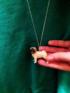 PUG LIFE // fawn pug necklace by thriftologee on Etsy, $10.00