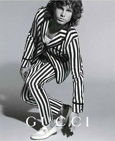 GucciRock legends wearing Gucci part 3 #jimmorrison #gucci #fashion #stripes #comeonbabylightmyfire I #repost @illustrarts via ELLE HOLLAND MAGAZINE OFFICIAL INSTAGRAM - Fashion Campaigns Haute Couture Advertising Editorial Photography Magazine Cover Designs Supermodels Runway Models