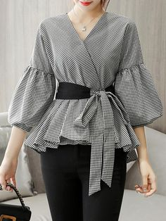 Buy Women's Blouse V Neck Lantern Sleeve Sash Gingham Top & Blouses - at Jolly Chic Muslim Fashion, Hijab Fashion, Fashion Outfits, Stylish Dresses, Modest Dresses, Blouse Styles, Blouse Designs, Hijab Stile, Sleeves Designs For Dresses