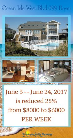 Have access to both the ocean and the sound side in this gorgeous 5-bedroom home!! Save big today on this Ocean Isle Beach, NC home!