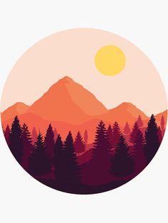 "'Forest Mountain Horizon' Sticker by Brandon Surya ""Forest Mountain Horizon"" Sticker by Ayrus Kunst Inspo, Art Inspo, Art And Illustration, Mountain Illustration, Illustrations, Ipad Kunst, Arte Com Grey's Anatomy, Record Wall Art, Circle Art"