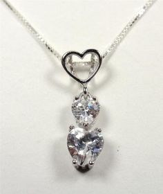 STERLING SILVER SPARKLING OPEN HEART & WHITE STONE HEARTS LOVE PENDANT NECKLACE