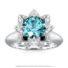 "Lotus Flower Ring in Platinum with London Blue Topaz and Diamonds - ""Lotus Flower Petite"""