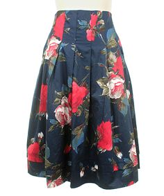 Frock Shop Navy & Red Berkshire Rose Pleated A-Line Skirt by Frock Shop #zulily #zulilyfinds