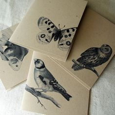 hand crafted notecard set ... one layer cards ... kraft with grays ... lifelike stamped nature images ... like the placement ...