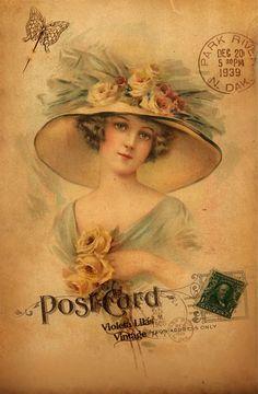 Violet lilac Vintage: Postcards Of Victorian Ladies - free to download.
