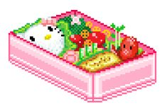 I would never eat this , it's to cute! Pixel Art Food, Cool Pixel Art, Anime Pixel Art, Food Art, Gifs, Cute Pixels, Imagenes Gift, Hello Kitty, Overlays