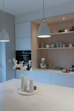 Kjøkkenet vårt – Villafunkis.no Decoration, Buffet, Lighting, Home Decor, Ideas, Modern, Decor, Decoration Home, Room Decor