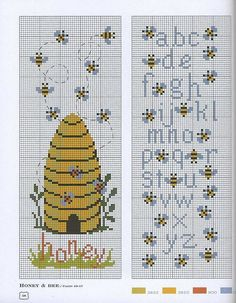 Bees cross stitching