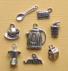 Coffee Charm Collection Antique Tibetan Silver 8 Different Charms - COL077. $3.75, via Etsy.