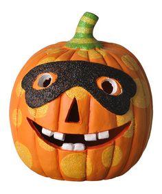 Spooktacular Home: Indoor Décor  -  Black Mask LED Pumpkin  -  Zulily