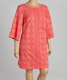 Take a look at the Coral Eyelet Shift Dress - Plus on #zulily today!