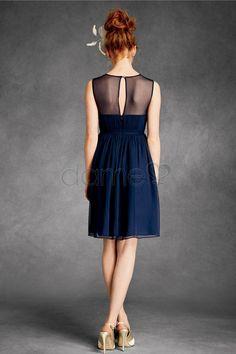 Natürliche Taille Netzstoff Juwel Chiffon Reißverschluss knielanges gerüschtes Homecoming Kleid