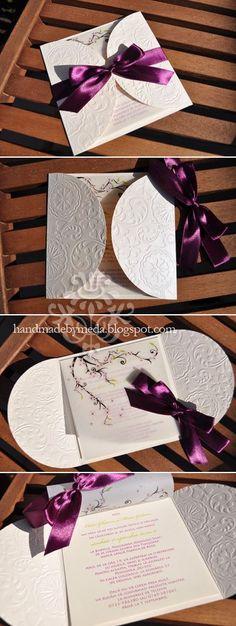 Cherry Blossom Violette Invitation - Handmade by Meda Handmade Invitation Cards, Handmade Wedding Invitations, Wedding Invitation Wording, Wedding Stationary, Invites, Wedding Cards, Diy Wedding, Formal Wedding, Tarjetas Diy