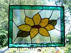 Stained Glass Sunflower Panel Suncatcher Stained Glass Flower Window Hanging